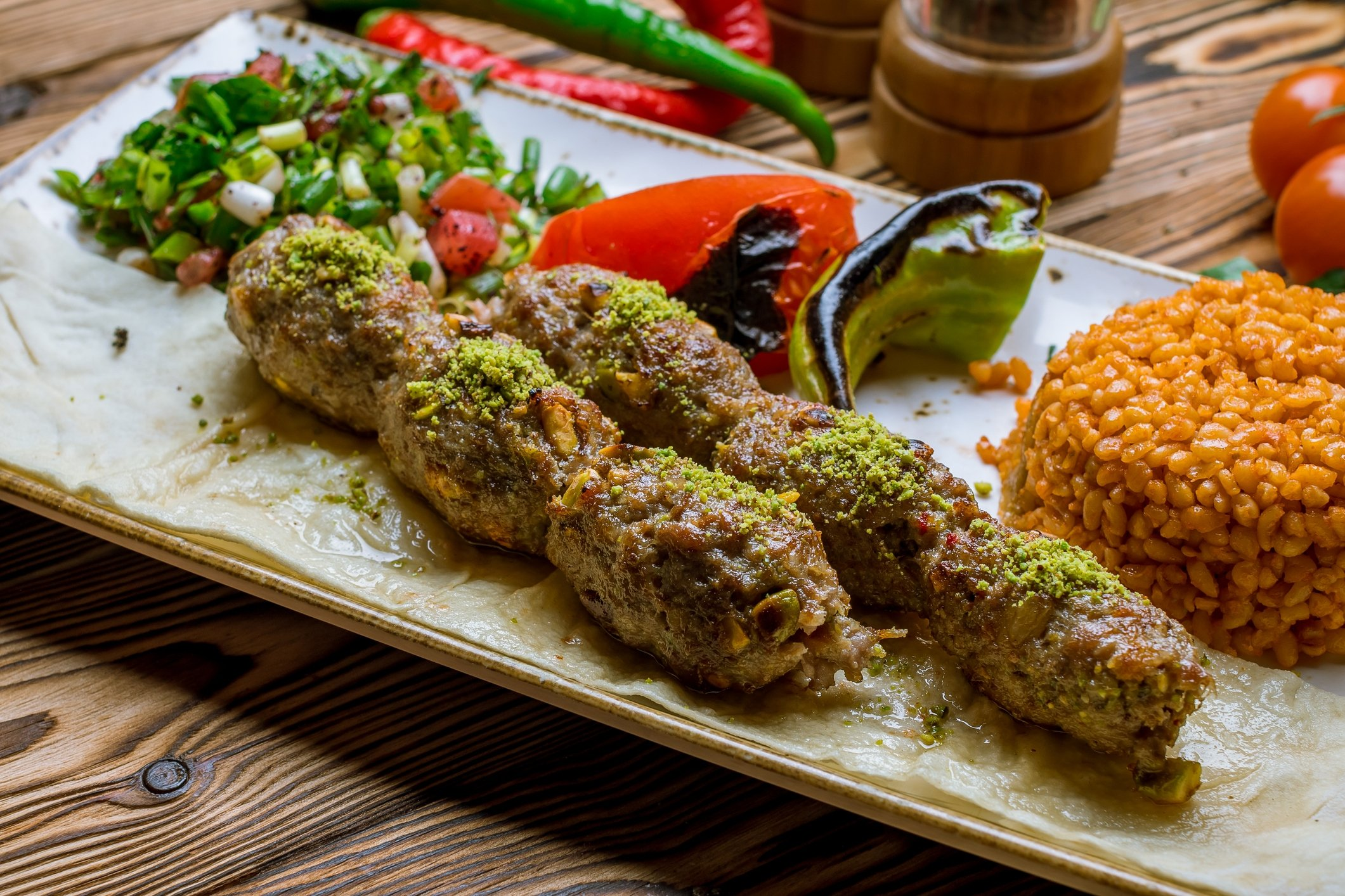 Antepfıstıklı kebab can be topped off with pistachios, but it is customary to add the nuts inside instead. (iStock Photo)