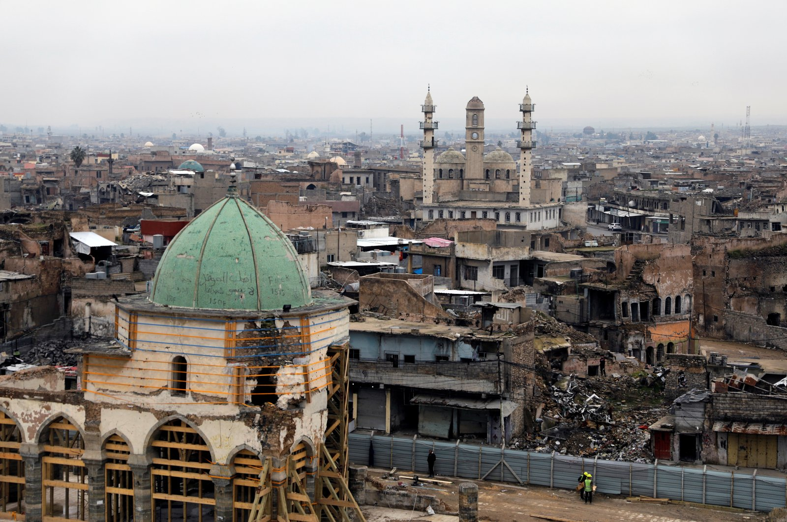 A general view of the Grand Mosque of al-Nuri during its reconstruction, in the old city of Mosul, Iraq, Jan. 23, 2020. (Reuters Photo)