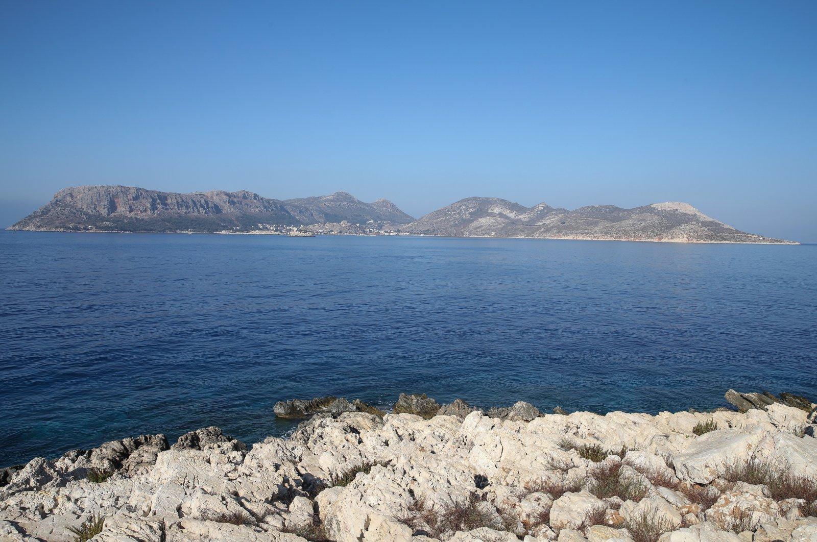 The Greek island of Kastellorizo (Megisti-Meis) photographed from the Kaş, Antalya, southern Turkey, Sept. 1, 2020 (AA Photo)