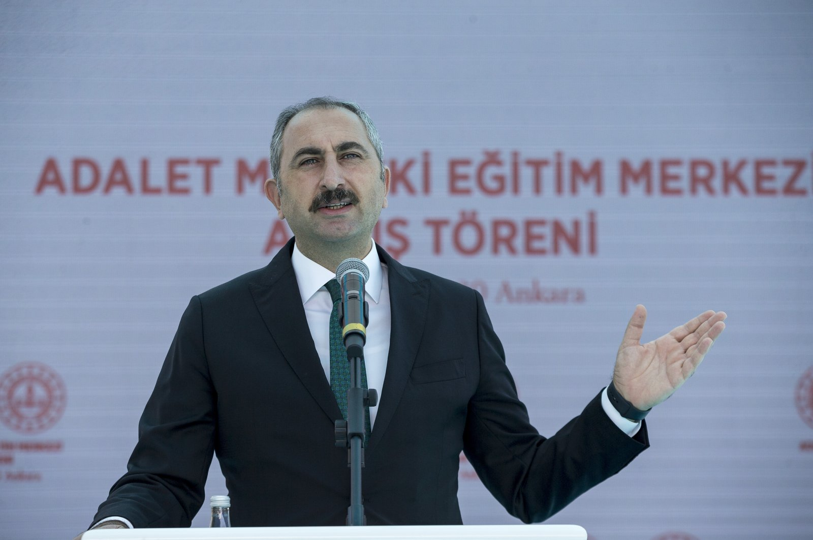 Justice Minister Abdülhamit Gül reacts as he gives a speech during the inauguration of a vocational training center in Ankara, Aug. 14, 2020. (AA Photo)