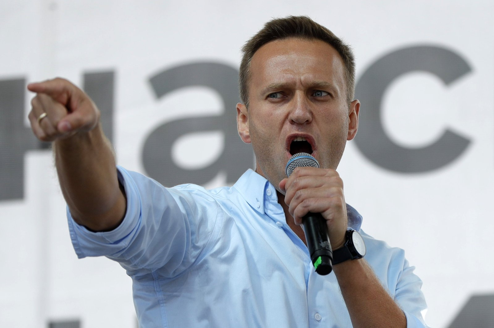 In this Saturday, July 20, 2019 file photo Russian opposition activist Alexei Navalny gestures while speaking to a crowd during a political protest in Moscow, Russia. (AP Photo)