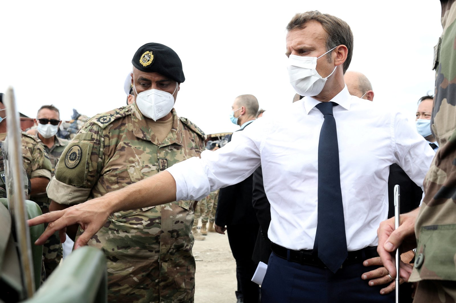 French President Emmanuel Macron meets with members of the Lebanese military, Beirut, Lebanon, Sept. 1, 2020. (Reuters Photo)