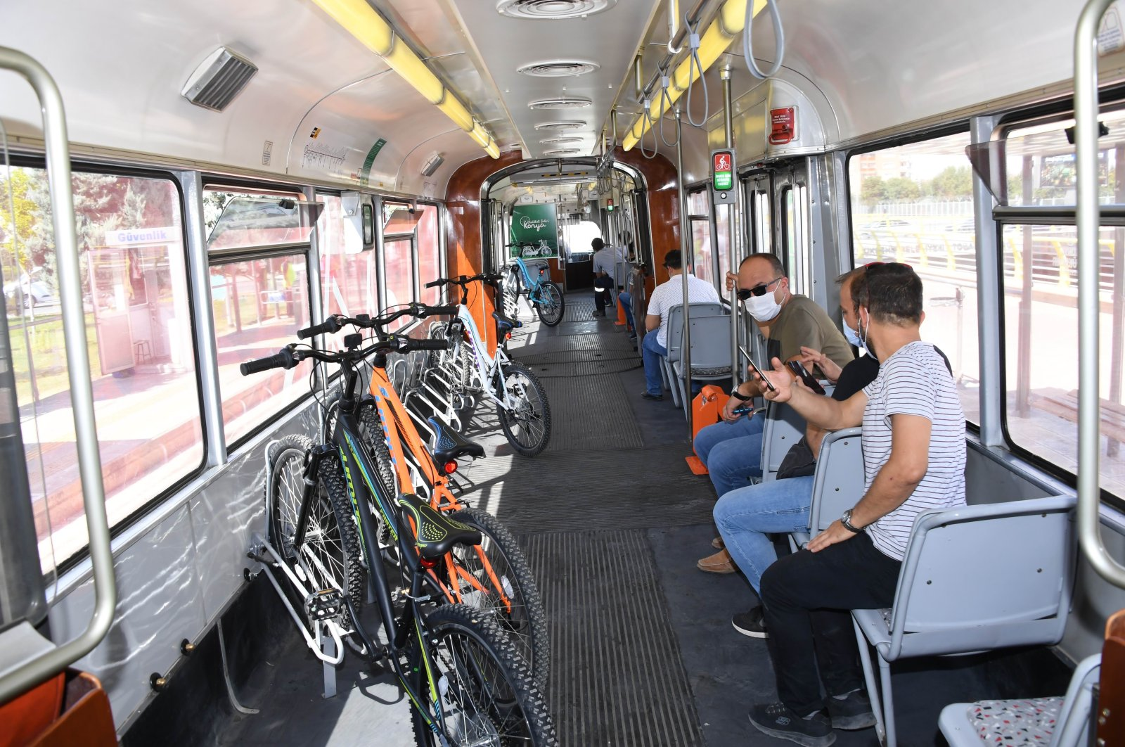 A view of the tram for cyclists, in Konya, central Turkey, Sept. 3, 2020. (İHA Photo)