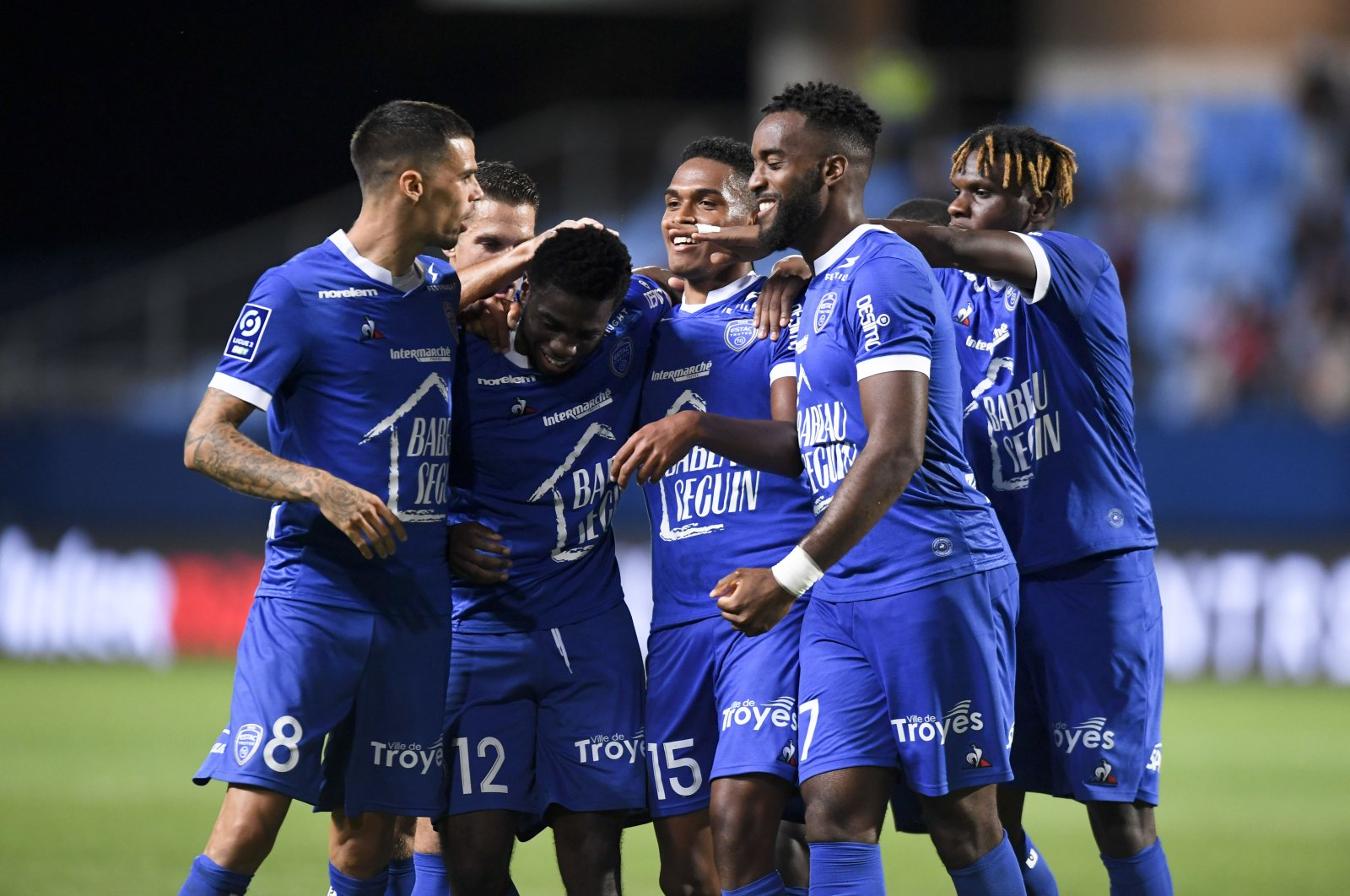Troyes players celebrate a goal during a French Ligue 2 match against Le Havre, in Troyes, France, Aug. 24, 2020. (Reuters Photo)