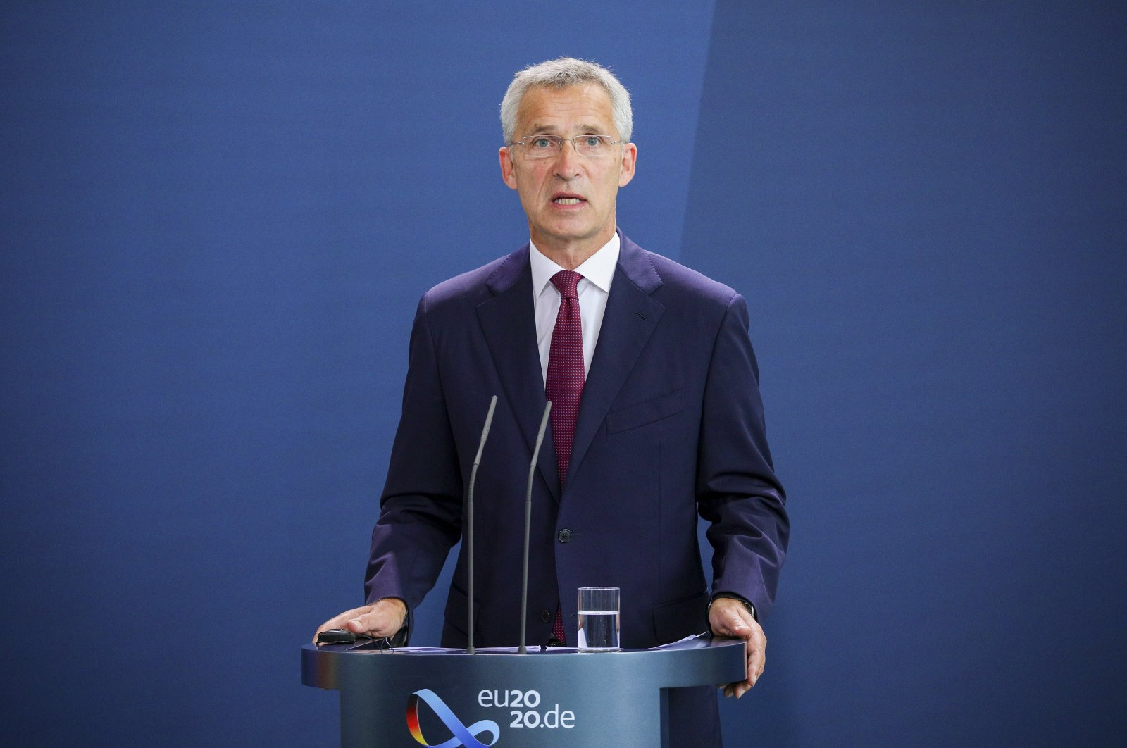 NATO Secretary-General Jens Stoltenberg speaks to the media prior to talks with German Chancellor Angela Merkel, at the Chancellery in Berlin, Germany, Aug. 27, 2020. (EPA Photo)