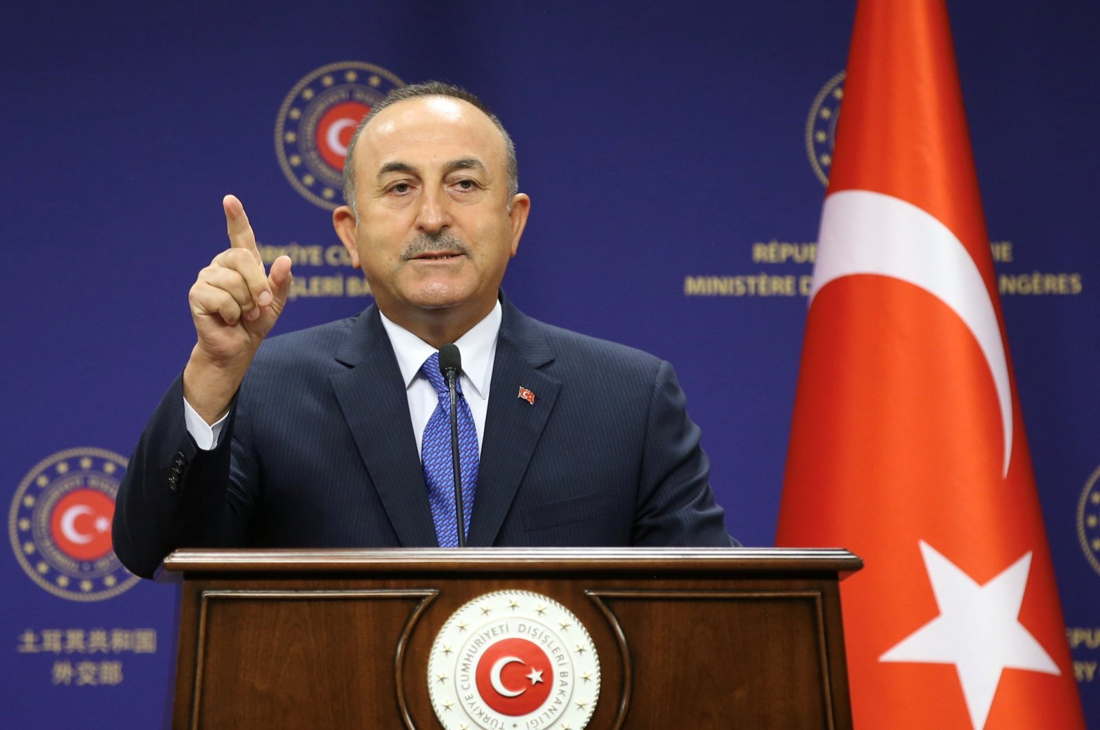 Turkish Foreign Minister Mevlüt Çavuşoğlu in a press conference in Ankara, Turkey, Aug. 25, 2020. (Photo by Foreign Ministry via Reuters)