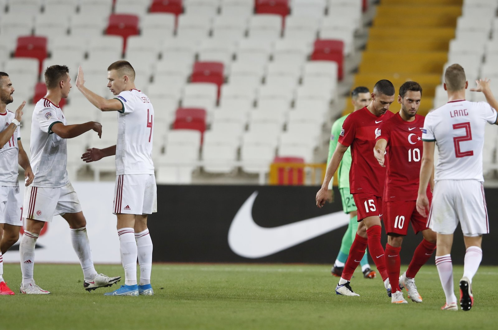 Hungary players celebrate after their win against Turkey in the UEFA Nations League match at the Yeni Sivas 4 Eylül Stadium, Sivas, central Turkey. Sept. 3, 2020. (Reuters Photo)