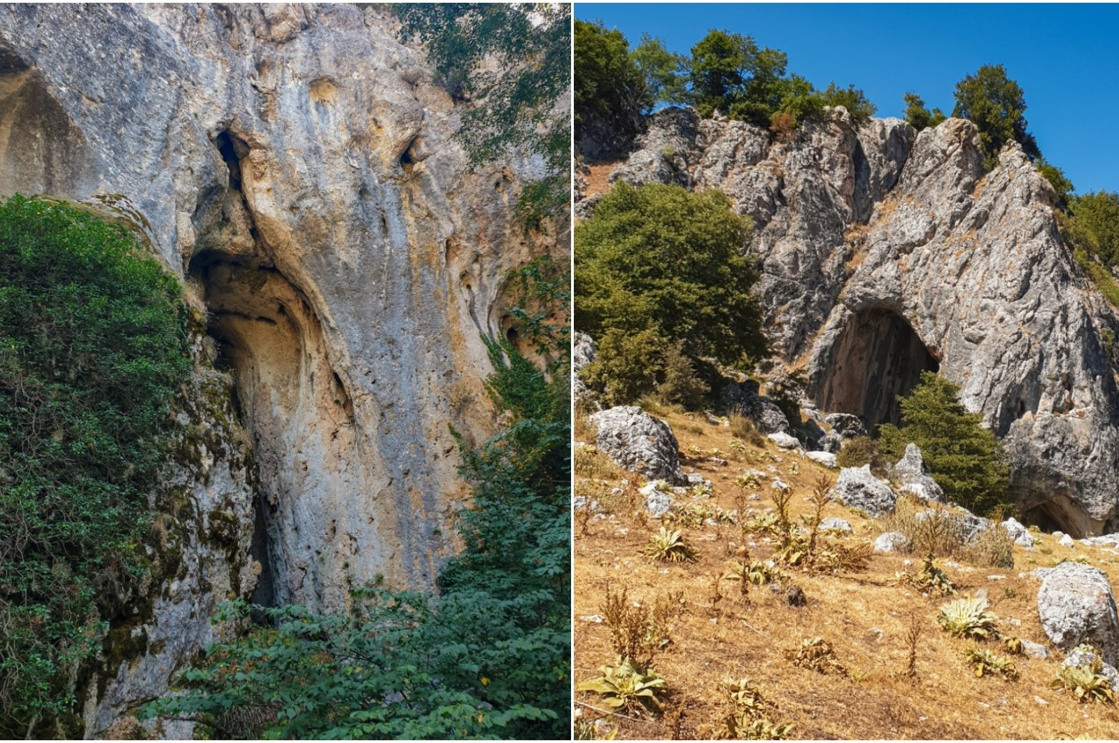 Combination of images shows the two entrances of Beyyayla Cave, from the Bolu side (L) and the Eskişehir side.