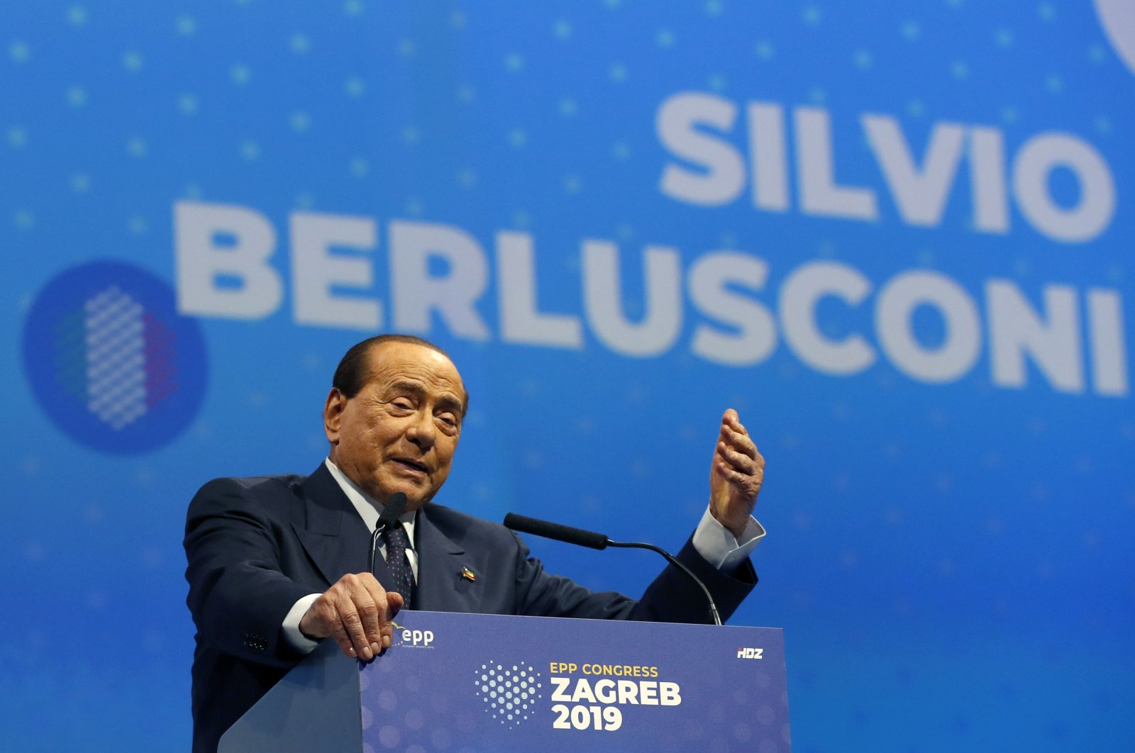 In this file photo, Silvio Berlusconi, Italian former prime minister and president of Forza Italia (Go Italy) party, speaks during the European Peoples Party (EPP) congress in Zagreb, Croatia, Nov. 21, 2019. (AP Photo)