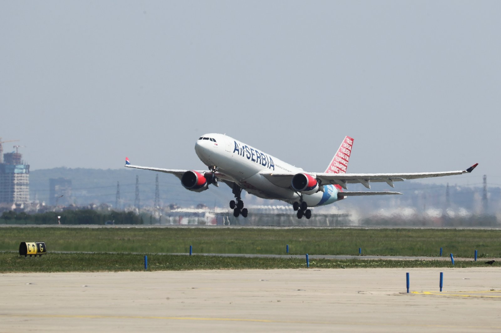 An Air Serbia plane takes off from the Nikola Tesla Airport in Belgrade, Serbia, April 25, 2020. (Reuters Photo)