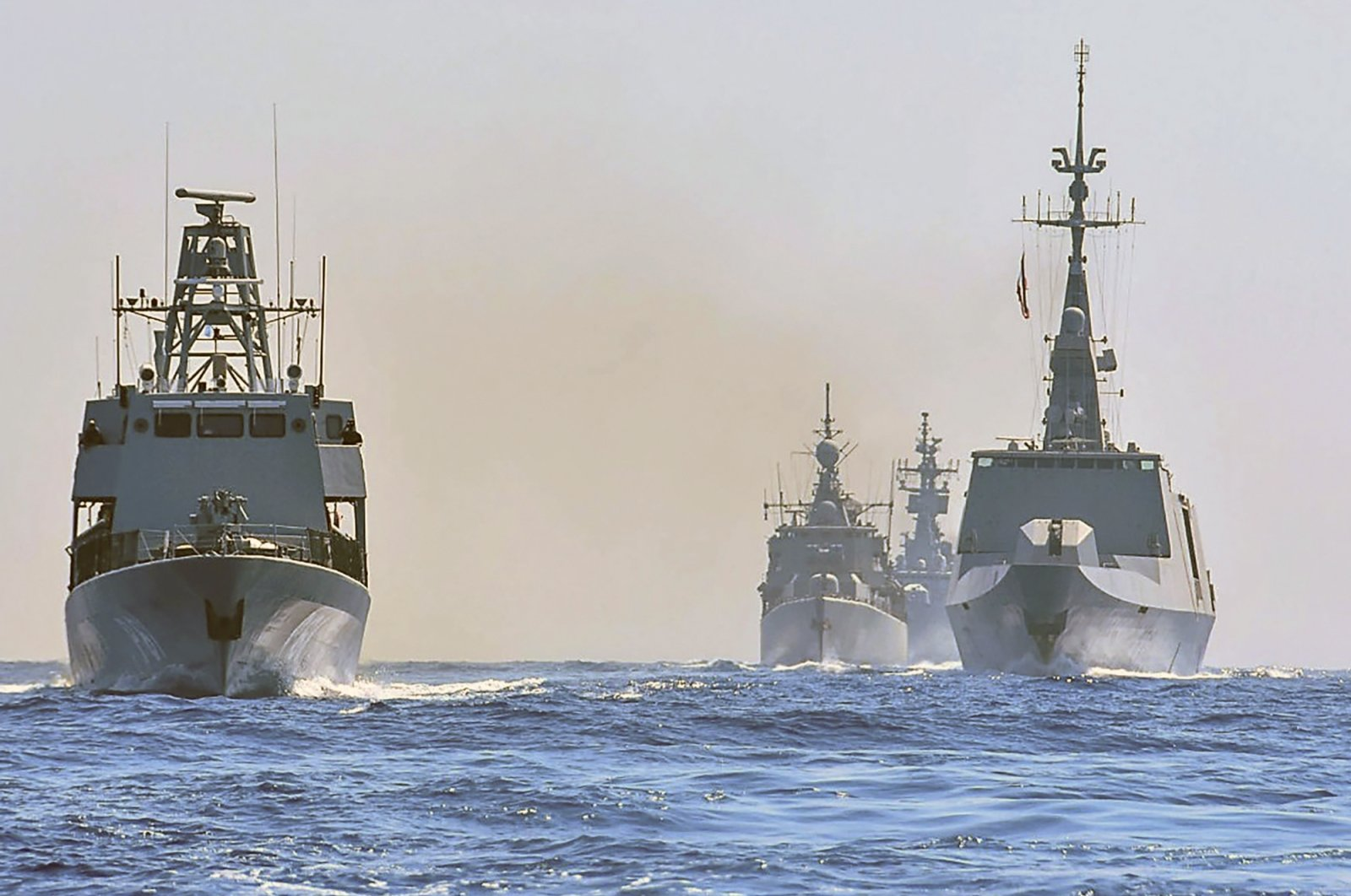 Warships from Greece, Italy, Greek Cypriot administration and France participate in a joint military exercise which was held from Aug. 26-28, south of Turkey in the Eastern Mediterranean, Aug. 31, 2020. (AP Photo)