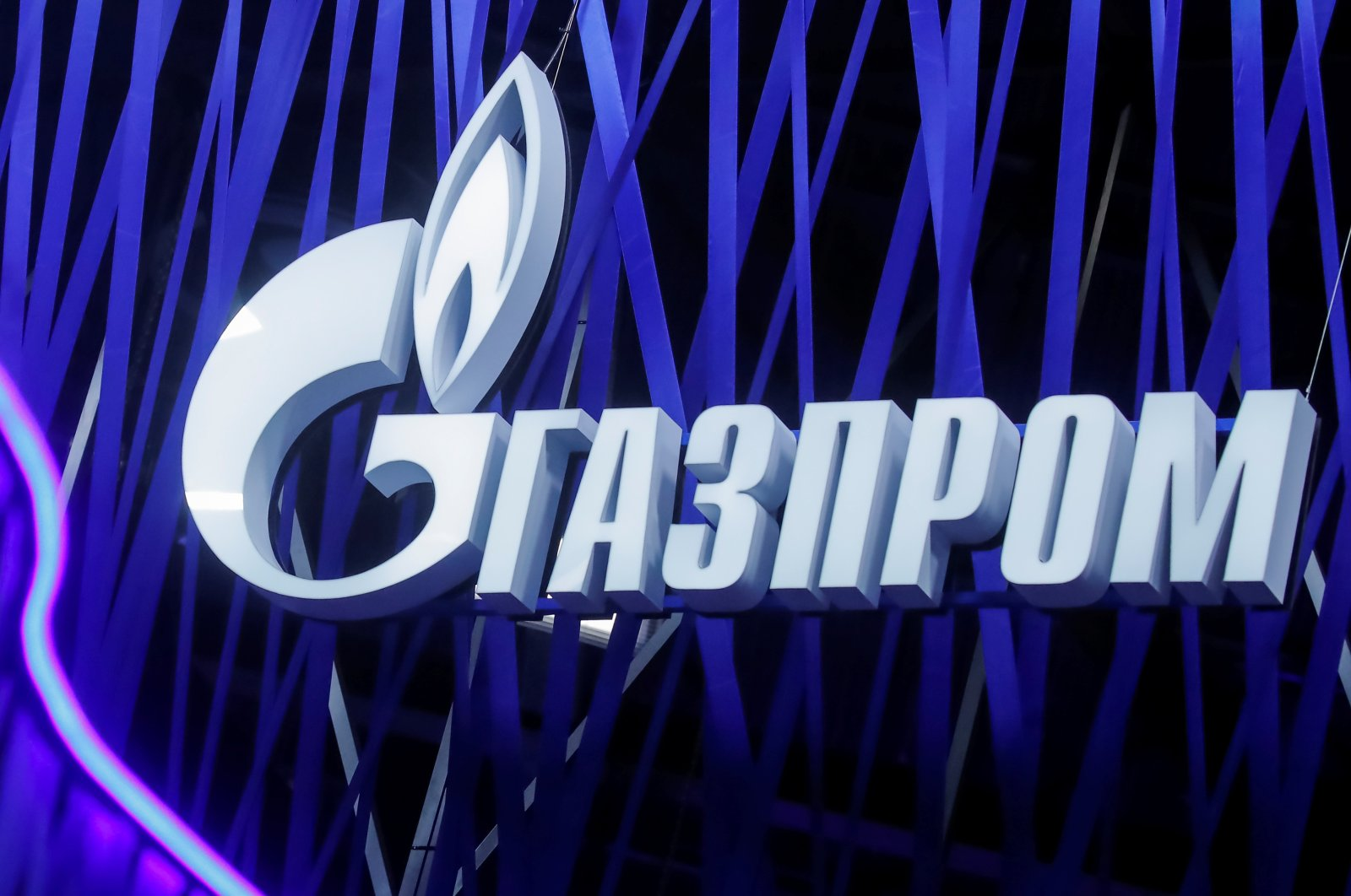 Russian gas giant Gazprom's logo is seen on a board at the St. Petersburg International Economic Forum (SPIEF), St. Petersburg, Russia, June 6, 2019. (Reuters Photo)