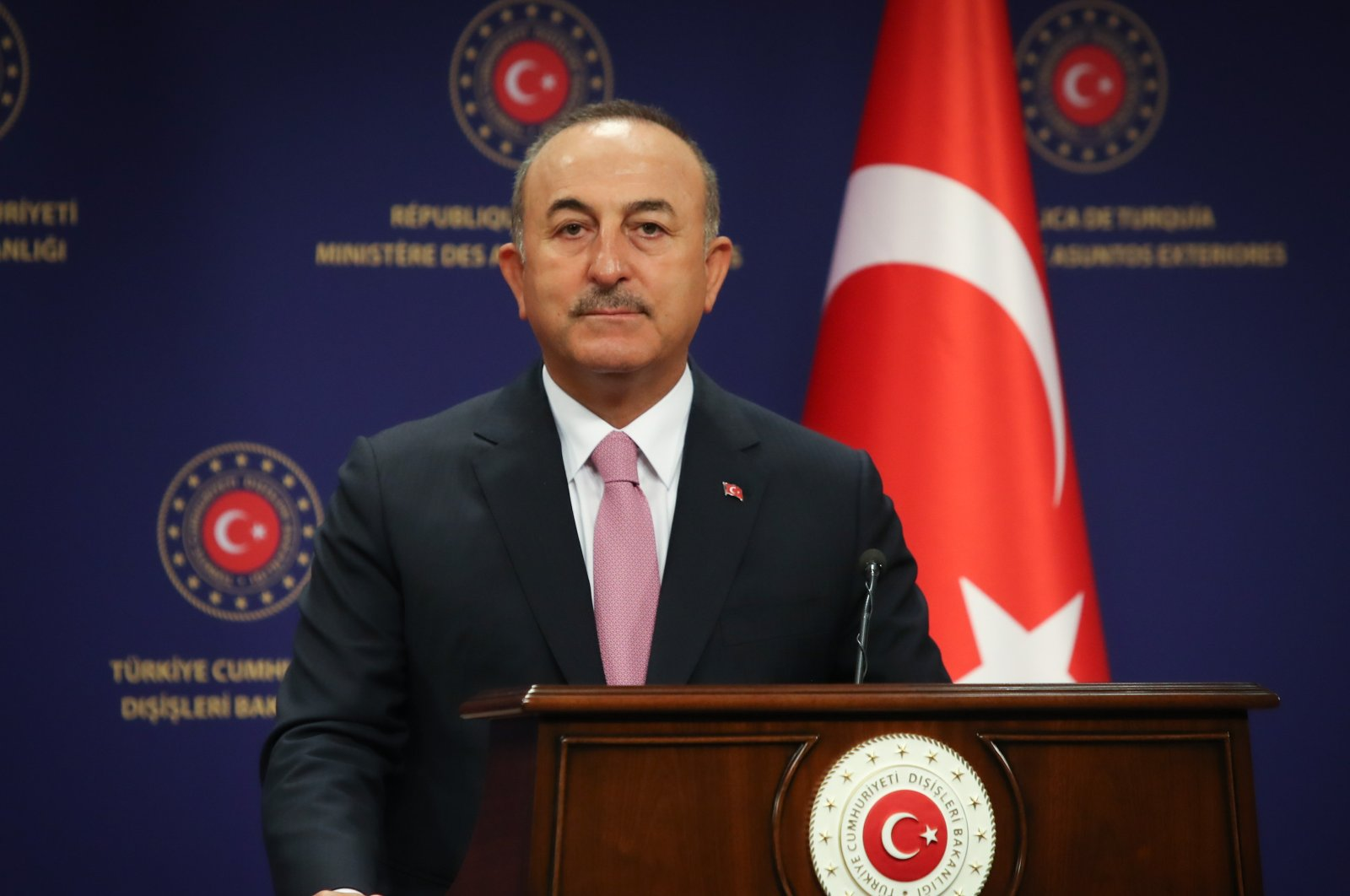 Foreign Minister Mevlüt Çavuşoğlu speaks at a joint press conference with his Algerian counterpart Sabri Boukadoum in Ankara, Turkey, Sept. 1, 2020. (AA Photo)
