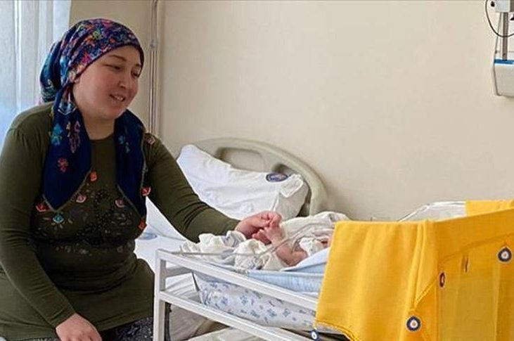 Derya Sert with her baby at the hospital in Antalya, southern Turkey, Sept. 4, 2020. (AA Photo)