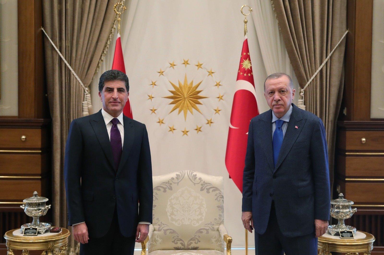 President Recep Tayyip Erdoğan receives Nechirvan Barzani, the leader of Iraq's Kurdistan Regional Government (KRG), in the capital Ankara, Turkey, Sept. 3, 2020. (DHA)