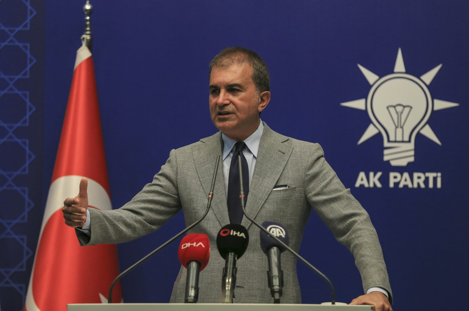 AK Party spokesman Ömer Çelik gives a statement in his party's headquarters in Ankara, Aug. 18, 2020. (AA File Photo)