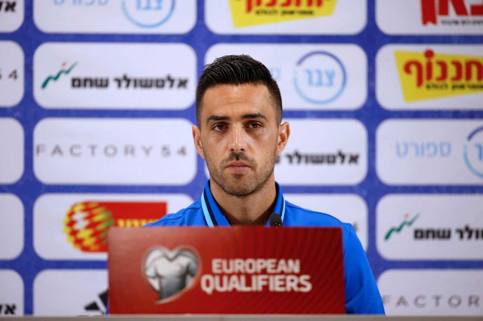 Israel's national team player Eran Zahavi speaks during a news conference, Haifa, Israel, on Sept. 4, 2016. (Reuters Photo)