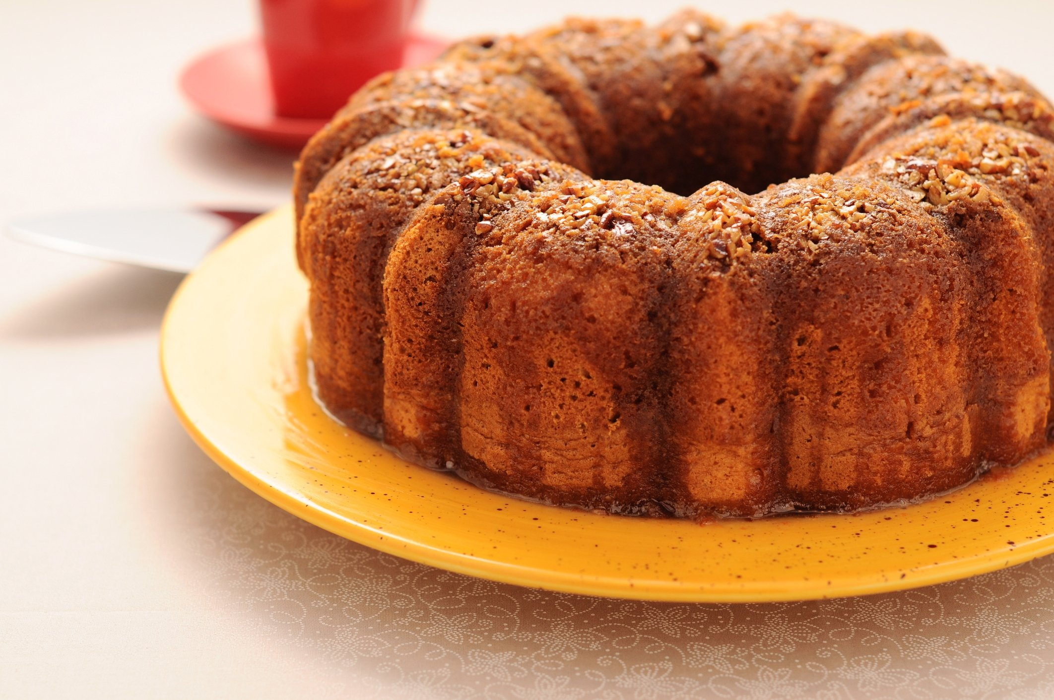 Topping off your coffee cake with crushed hazelnuts gives it great texture and flavor. (iStock Photo)