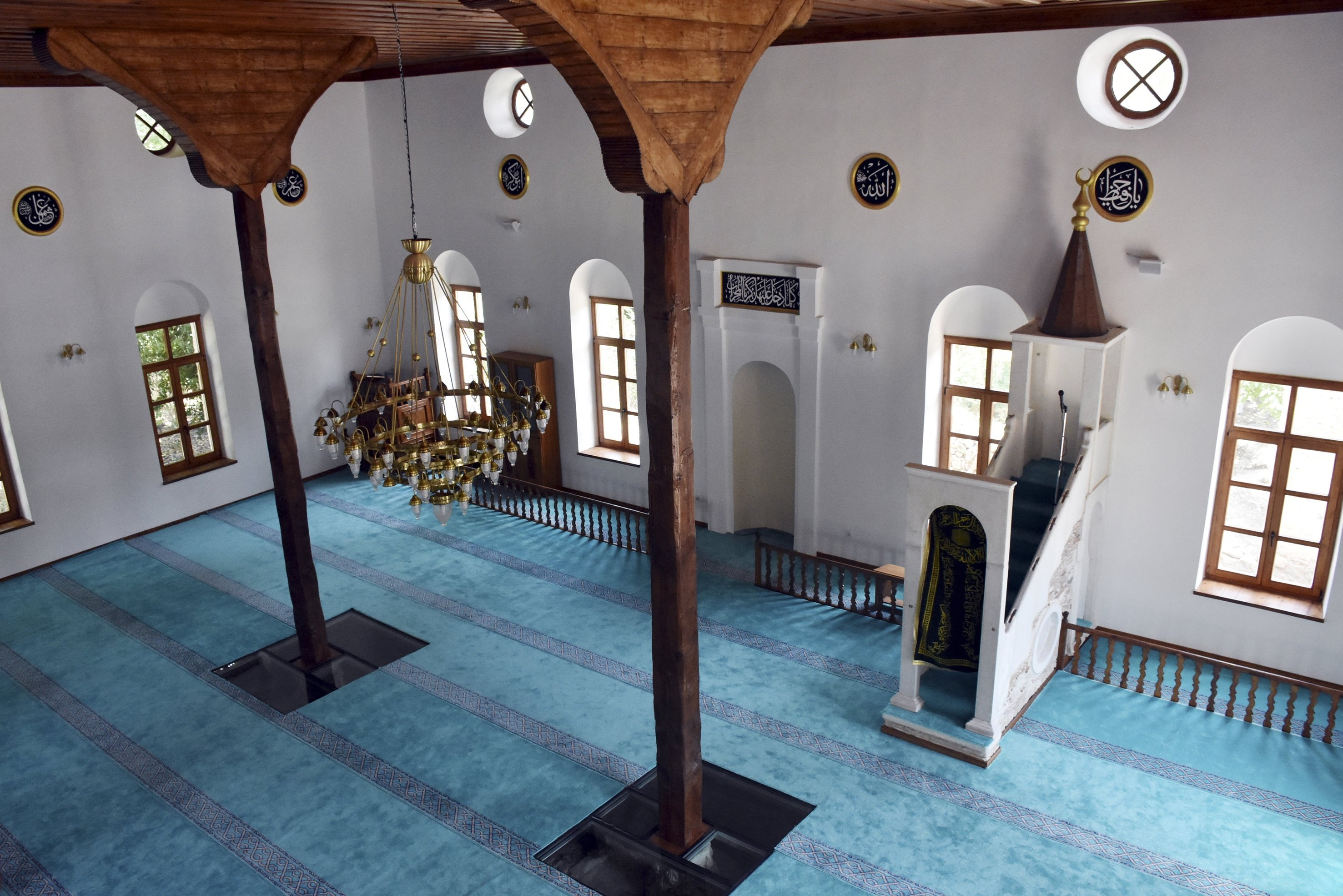 A photo showing the interior of the restored Şaban Ağa Mosque from the Ottoman period in the ancient city of Stratonikeia, Muğla, southwestern Turkey, June, 14, 2018. (AA PHOTO)