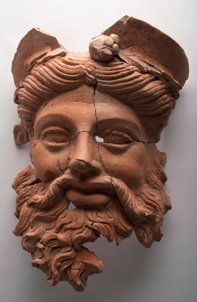 The terracotta mask of the ancient Greek god Dionysus, found at the ancient city of Daskyleion, Balıkesir, western Turkey, Sept. 6, 2020. (AA PHOTO)