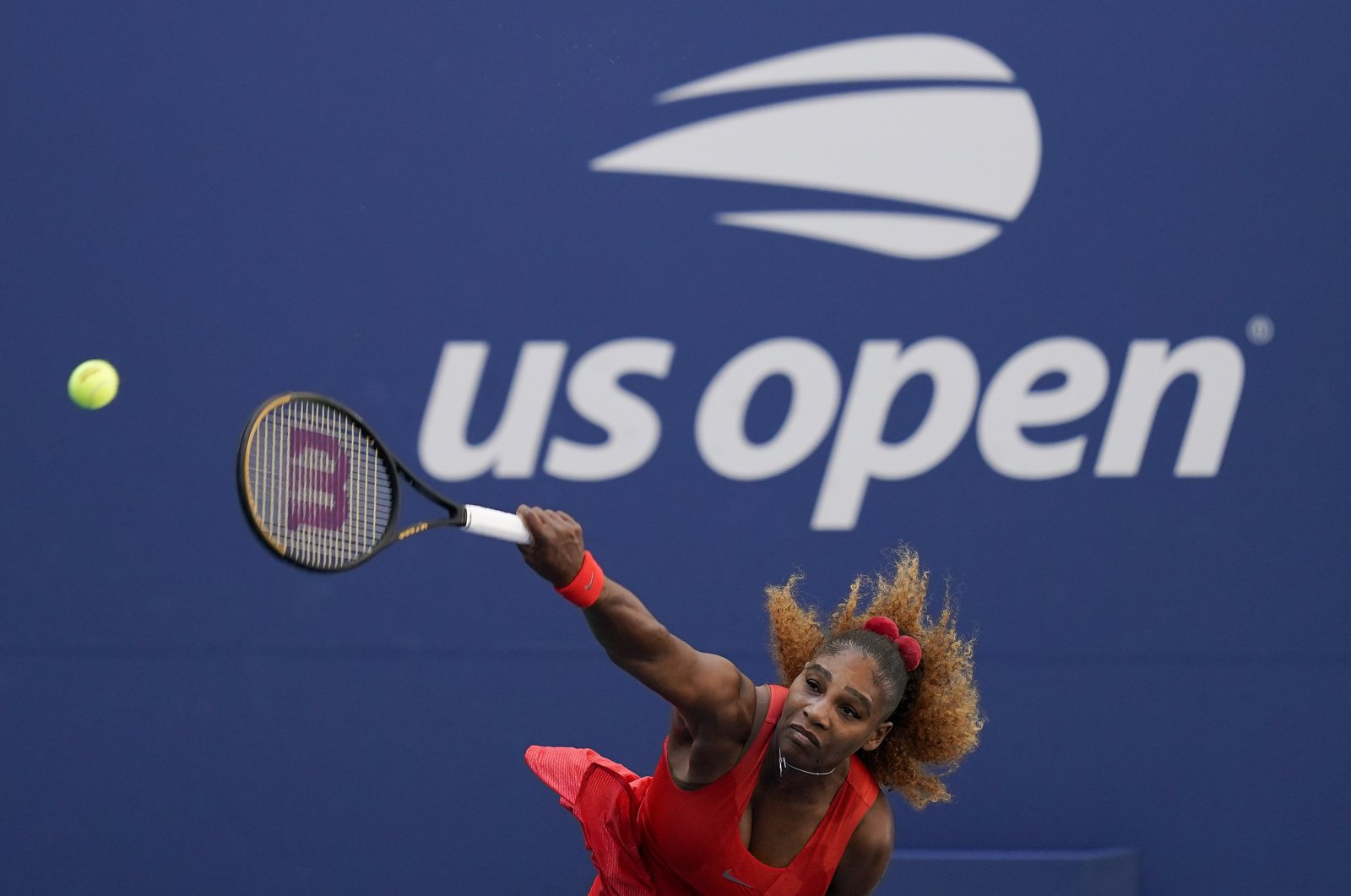 Serena Williams serves to Sloane Stephens during the third round of the U.S. Open tennis championships, New York, U.S., Sept. 5, 2020. (AP Photo)