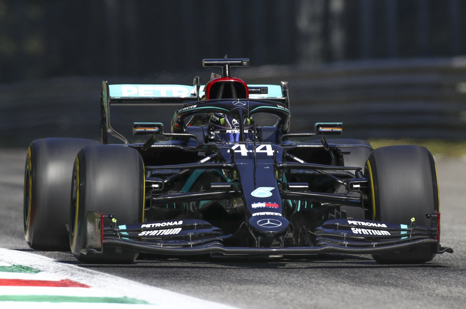 Mercedes driver Lewis Hamilton during the qualifying session for Italian Formula One Grand Prix, in Monza, Italy, Sept. 5, 2020. (AP Photo)