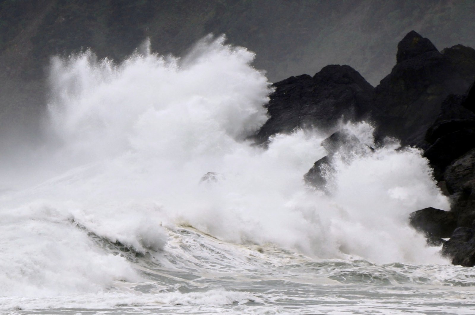 High waves triggered by Typhoon Haishen crash against the coast of Amami Oshima island, Kagoshima prefecture, Japan Sept. 5, 2020. (Kyodo via Reuters)