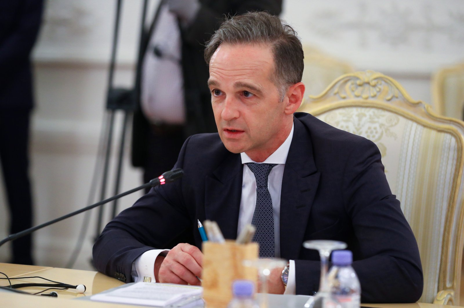 German Foreign Minister Heiko Maas speaks during a meeting with Russian Foreign Minister Sergei Lavrov in Moscow, Russia, Aug. 11, 2020. (Russian Foreign Ministry/Handout via Reuters)