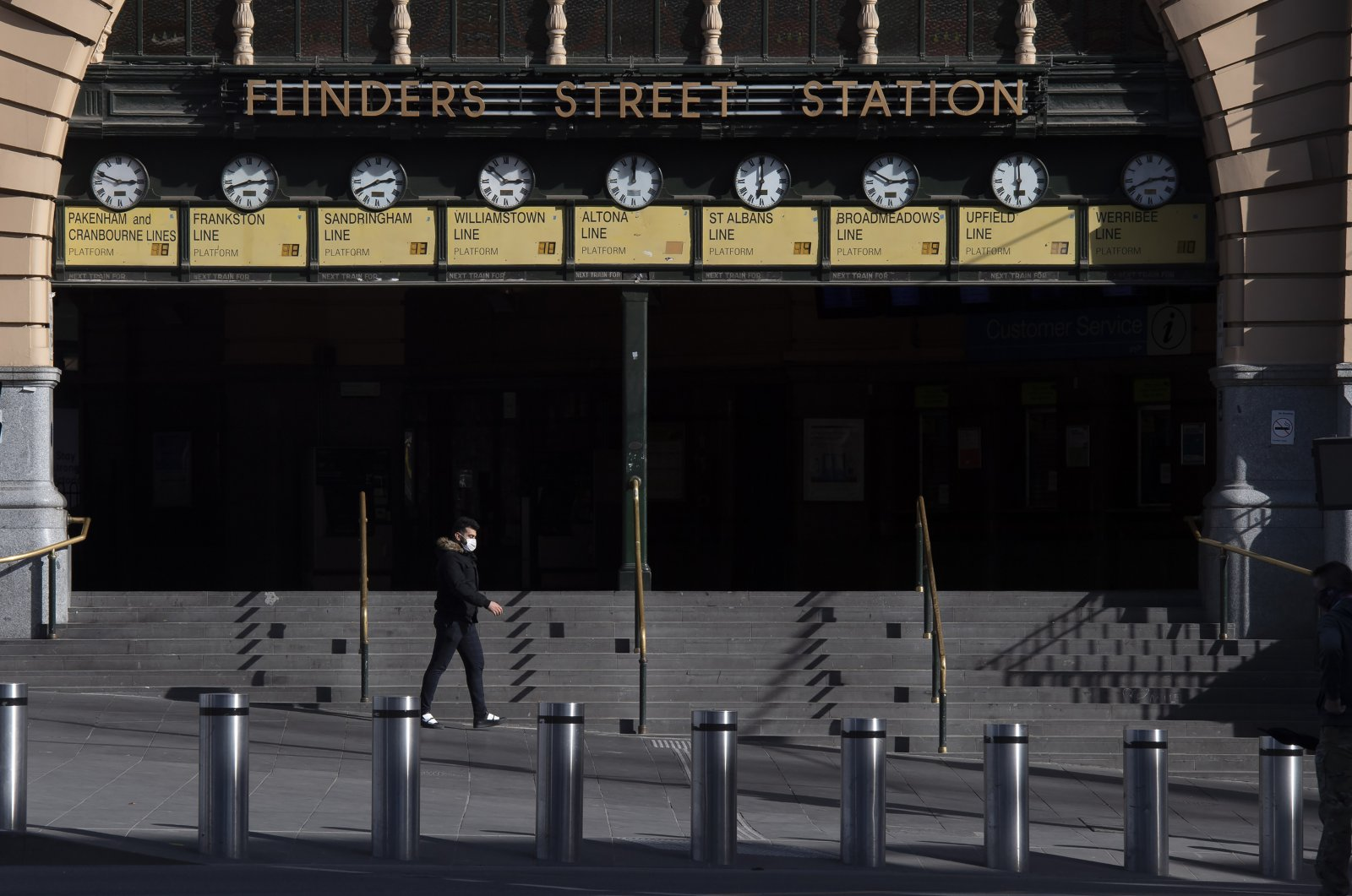 Flinders Street Station is quiet during lockdown due to the continuing spread of the coronavirus in Melbourne, Australia, Aug. 6, 2020. (AP Photo)