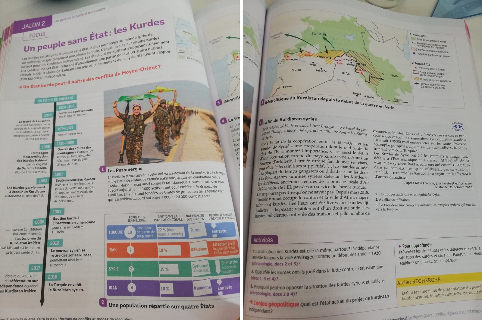 These pages shared on Twitter show YPG/PKK propaganda as printed on a supplementary French high school book, Sept. 6, 2020.