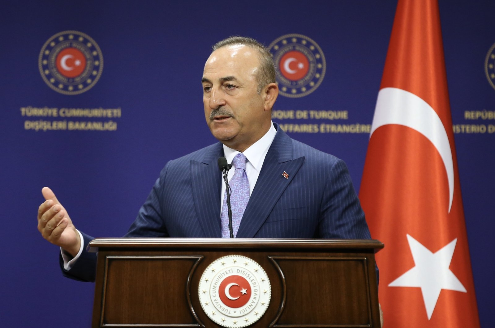 Foreign Minister Mevlüt Çavuşoğlu speaks during a joint press conference with Hungarian Foreign Affairs and Trade Minister Peter Szijjarto in Ankara, July 1, 2020. (AA Photo)