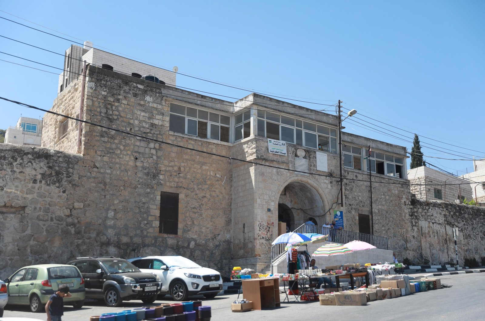 A photo of the Tahaffuzhane from afar, Hebron, southern West Bank, Sept. 3, 2020. (AA PHOTO)