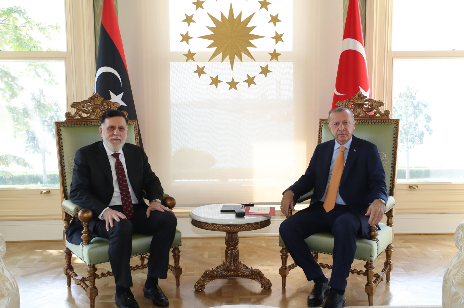 President Recep Tayyip Erdoğan receives Libya's Prime Minister Fayez Sarraj inIstanbul, Sep. 6, 2020. (AA Photo)
