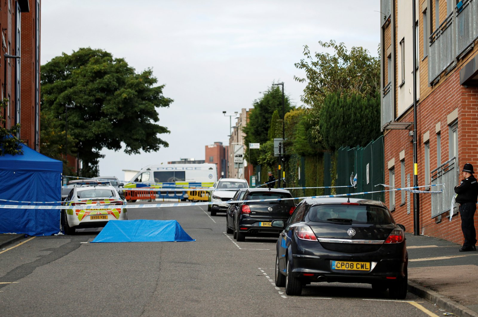 Police tape and police officers are seen near the scene of reported stabbings in Birmingham, Britain, Sept. 6, 2020. (Reuters Photo)