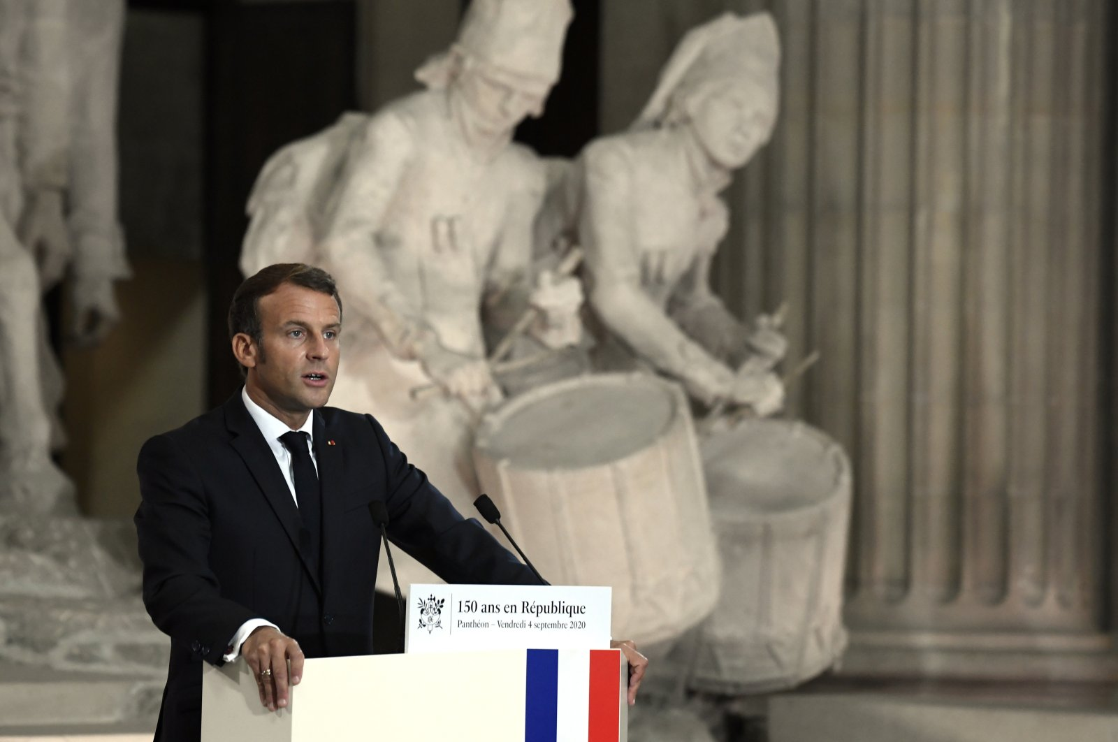 French President Emmanuel Macron speaks during a ceremony to celebrate the 150th anniversary of the proclamation of the French Republic, at the Pantheon monument, Paris, Sept. 4, 2020. (AP Photo)