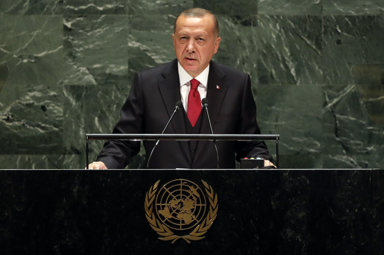 President Recep Tayyip Erdoğan addresses the 74th session of the United Nations General Assembly, Sept. 24, 2019. (AP File Photo)