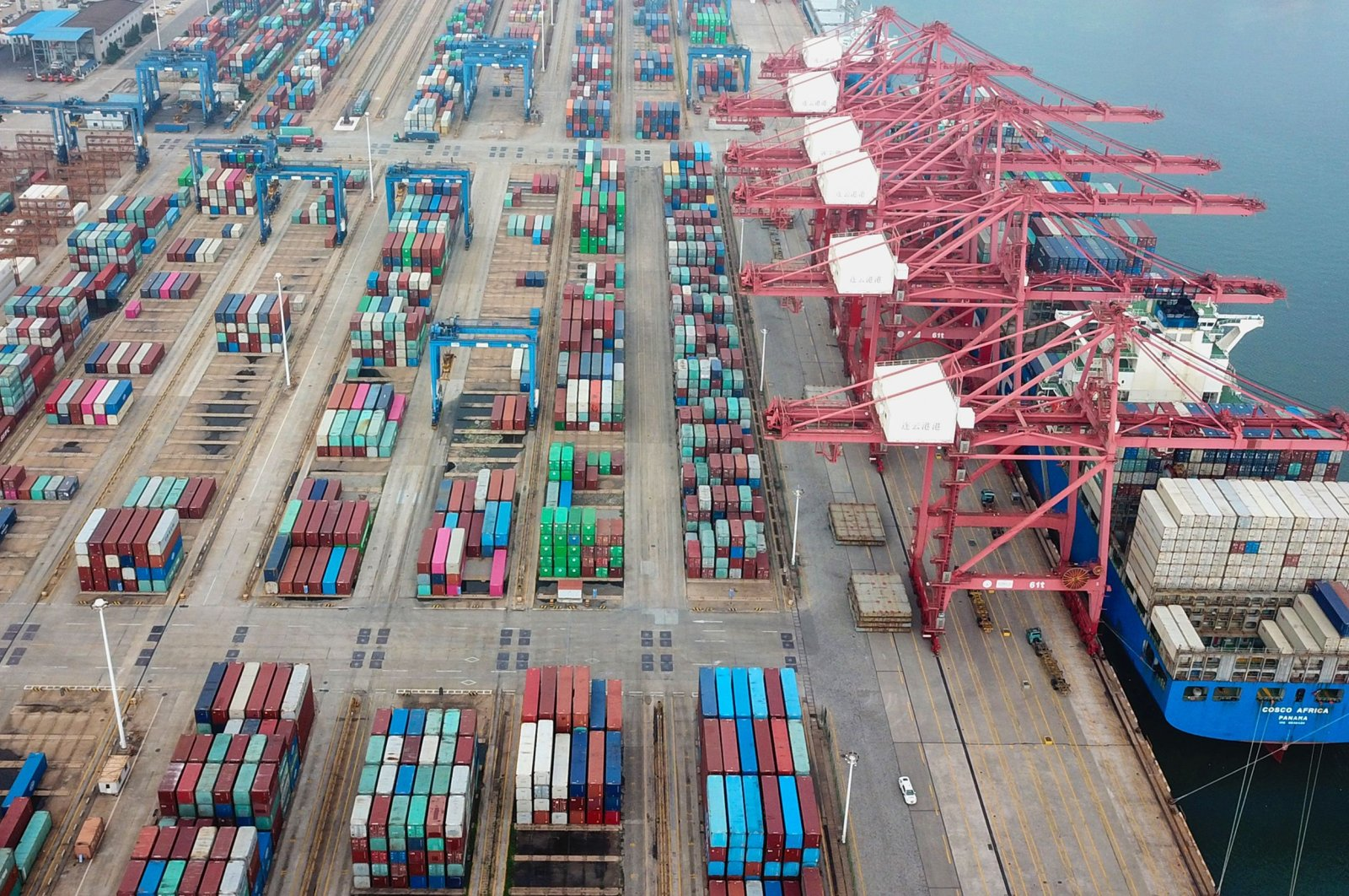 Containers stacked at a port in Lianyungang in China's eastern Jiangsu province, July 14, 2020. (AFP Photo)