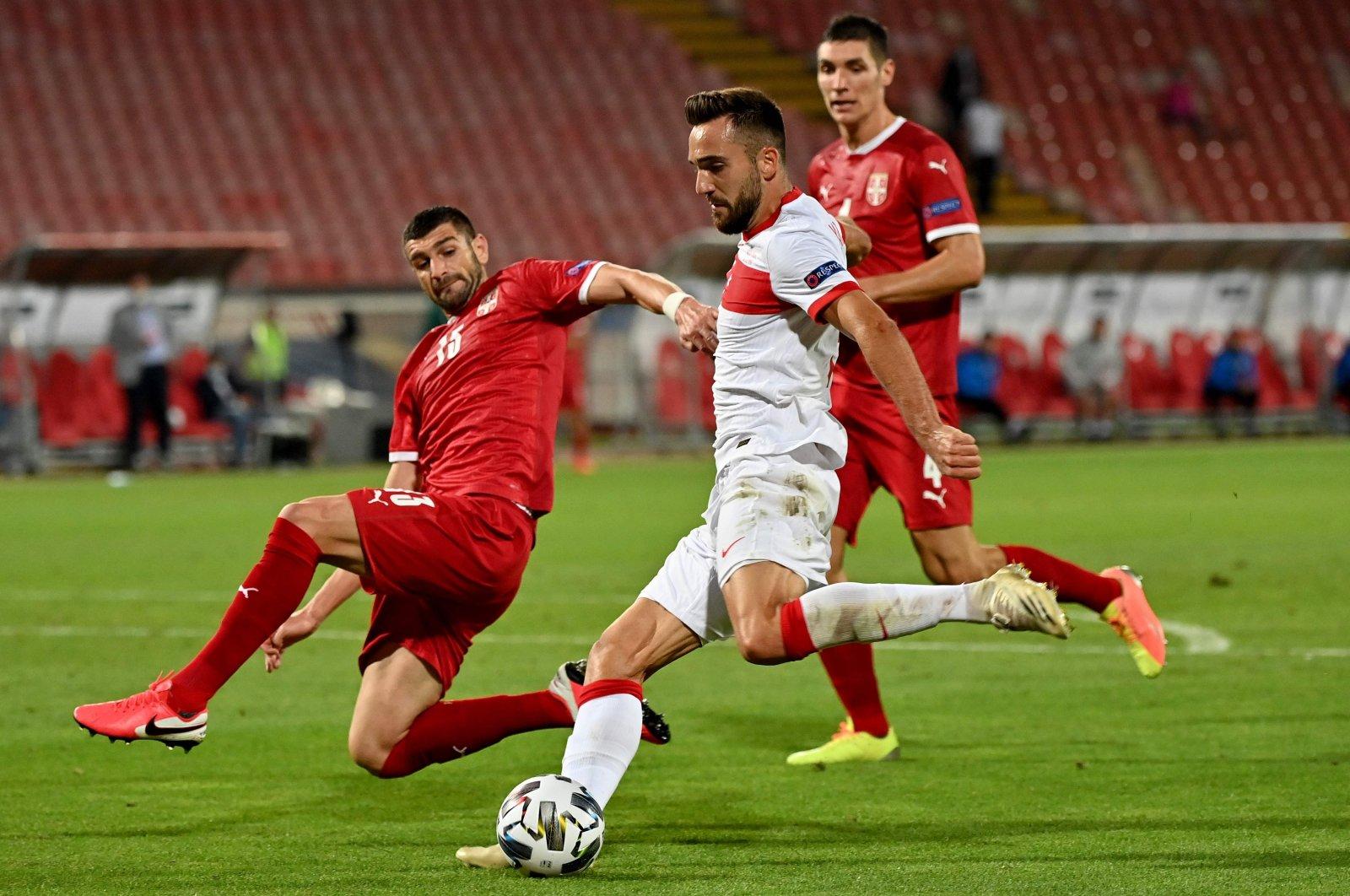 Turkey forward Kenan Karaman (C) shoots during the UEFA Nations League match against Serbia, in Belgrade, Serbia, Sept. 6, 2020. (AFP Photo)