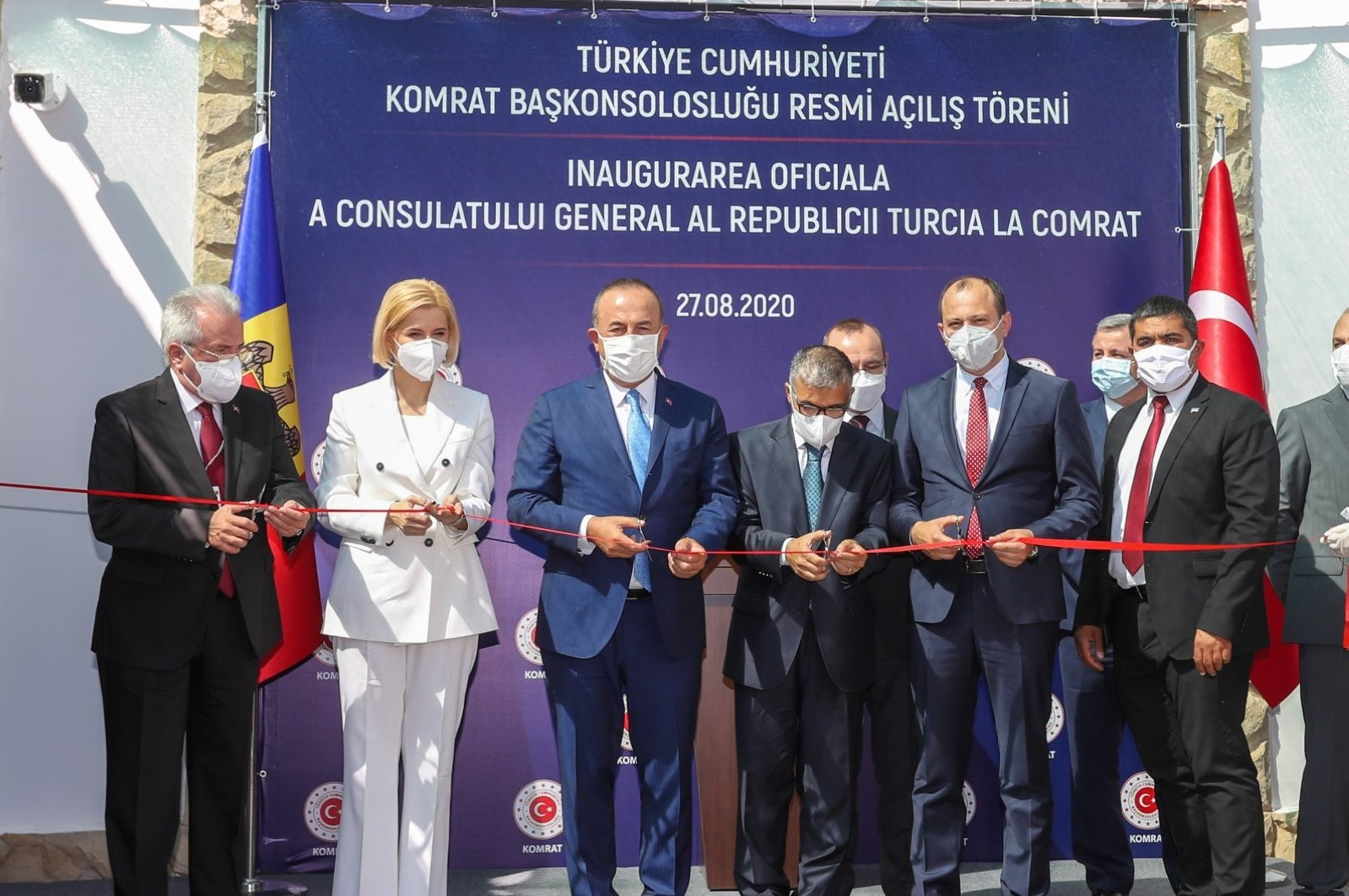 Foreign Minister Mevlüt Çavuşoğlu (3rd from left), inaugurates Turkey's consulate-general in Comrat, the capital of Moldova's Gagauzia autonomous region, along with his Moldovan counterpart Oleg Tsulya (2nd from right) and Gagauzia Gov. Irina Vlah (2nd from left), Aug. 27, 2020. (AA)
