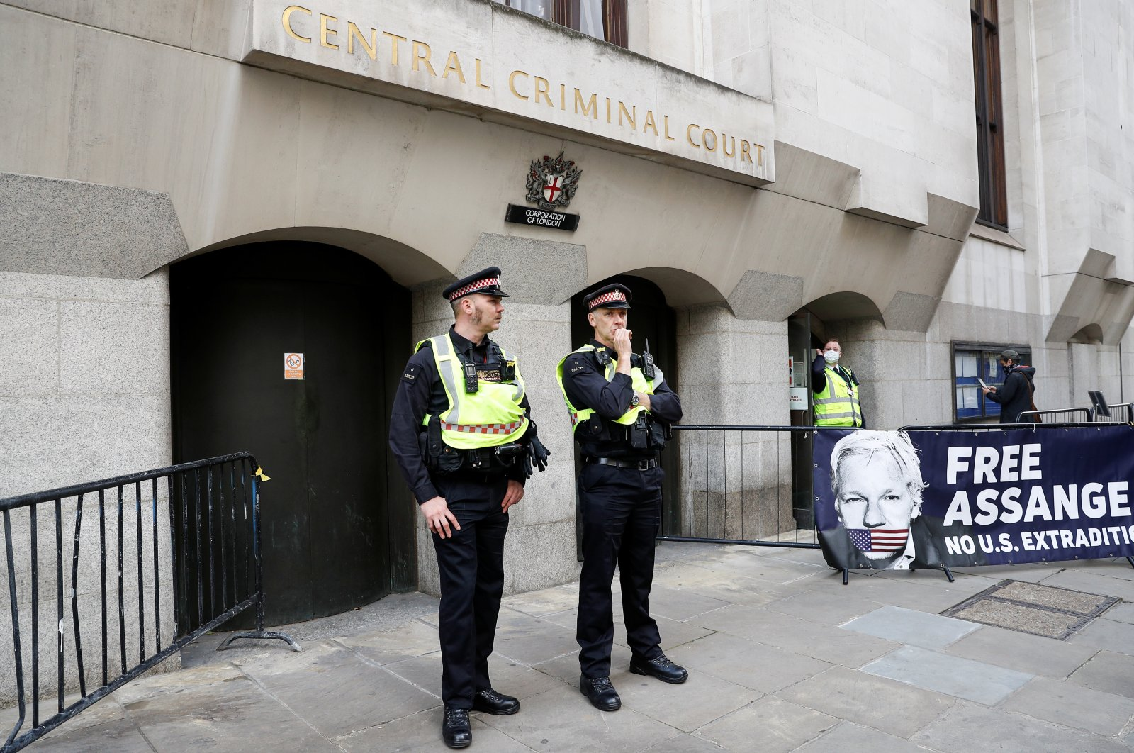 A banner in support of Julian Assange is seen outside the Old Bailey, the Central Criminal Court, London, Sept. 7, 2020. (REUTERS Photo)