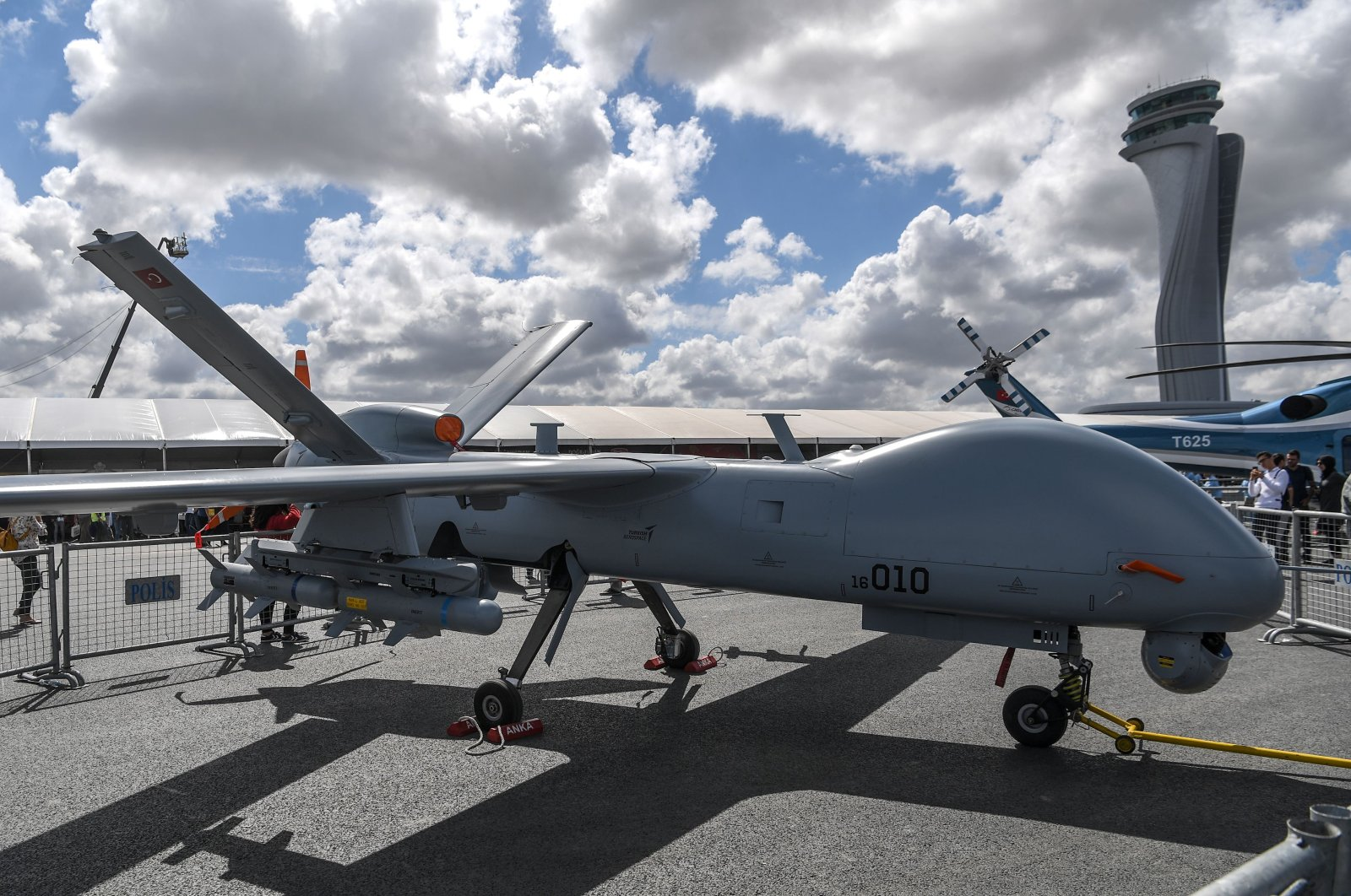 TIA's unmanned aerial vehicle (UAV) ANKA is displayed during the Teknofest festival at Istanbul's new airport, Turkey, Sept. 20, 2018. (AFP Photo)
