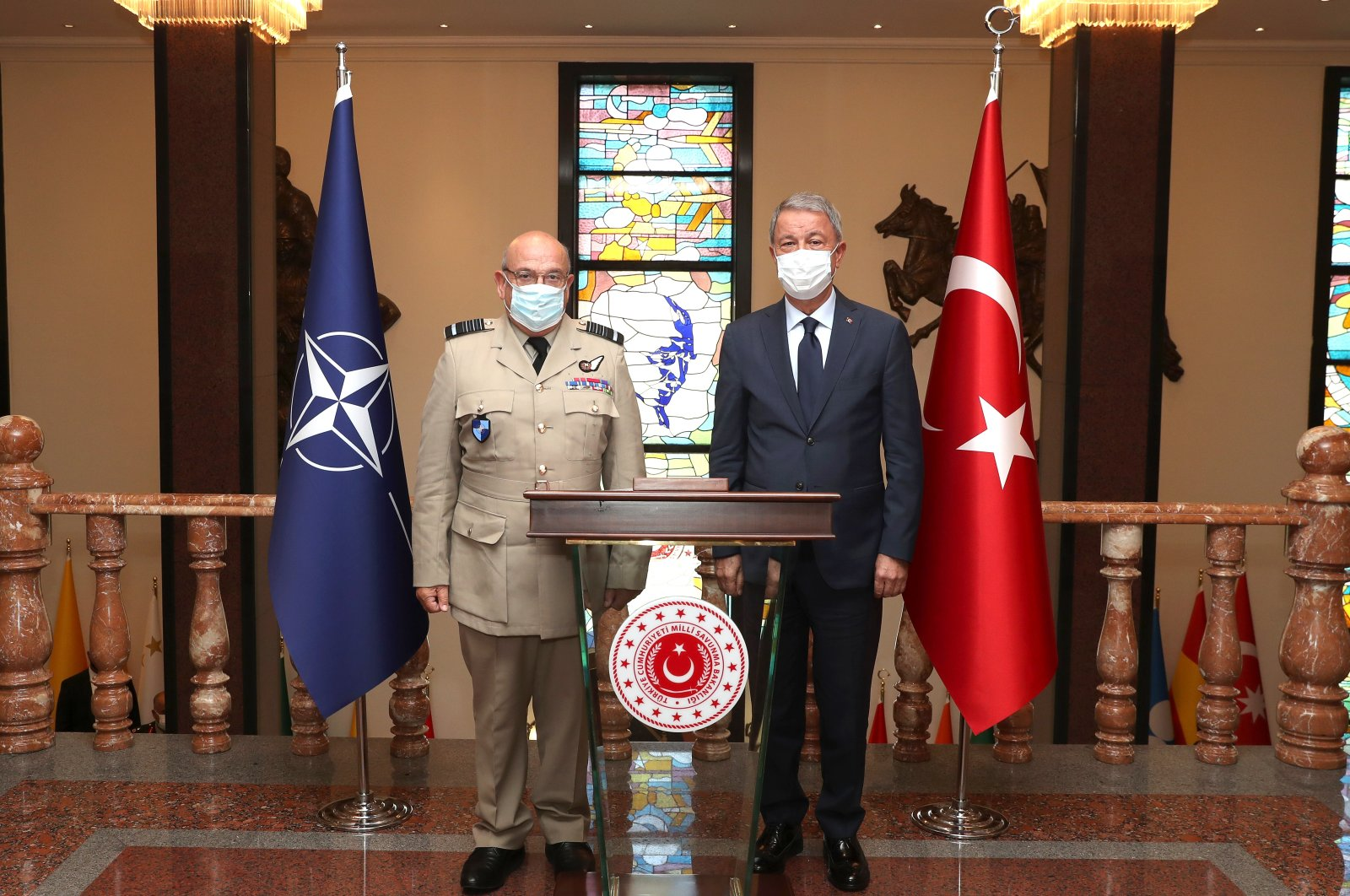 Defense Minister Hulusi Akar with NATO's Military Committee, Air Chief Marshal Sir Stuart Peach on Sep. 7, 2020 (AA Photo)
