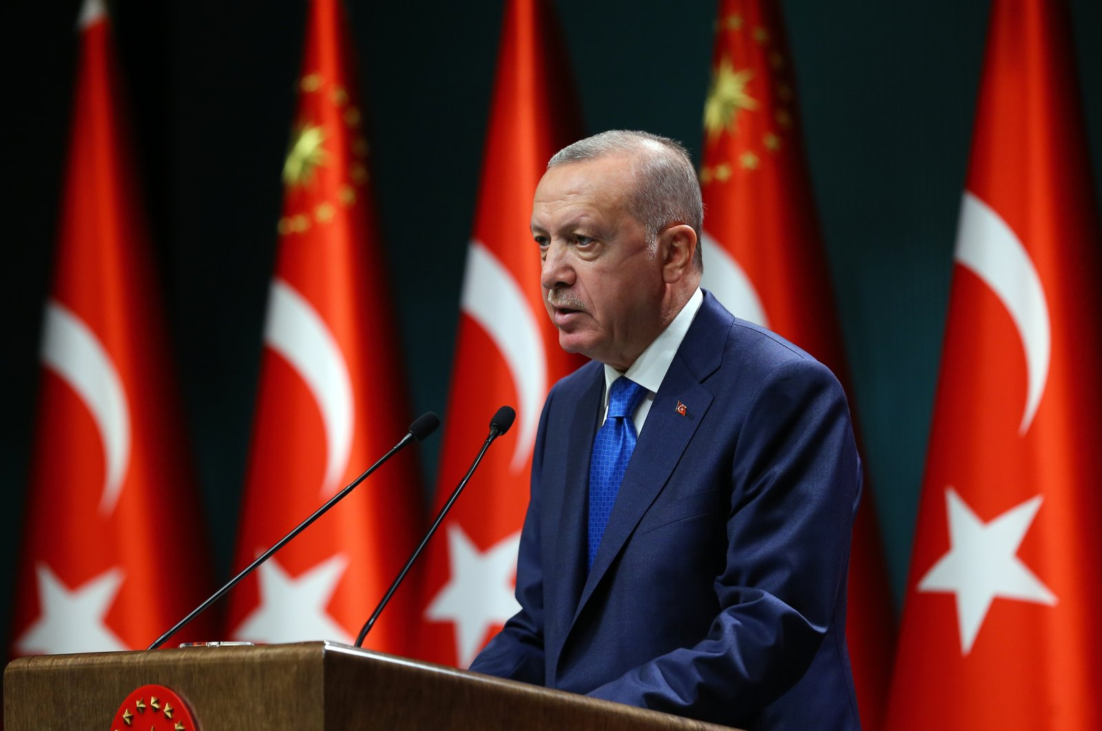 President Recep Tayyip Erdoğan speaks after a Cabinet meeting at the Presidential Complex in Ankara, Turkey, Sept. 7, 2020. (AA Photo)