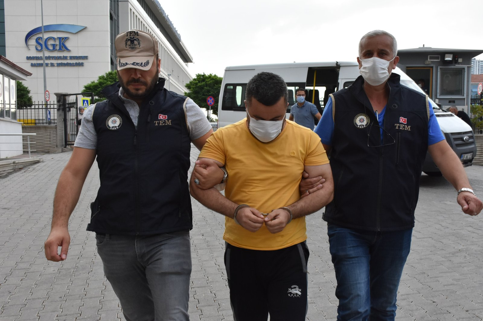 Six Iraqis suspected of having links to Daesh terrorists are detained in Samsun, northern Turkey, Sept. 8, 2020. (AA)