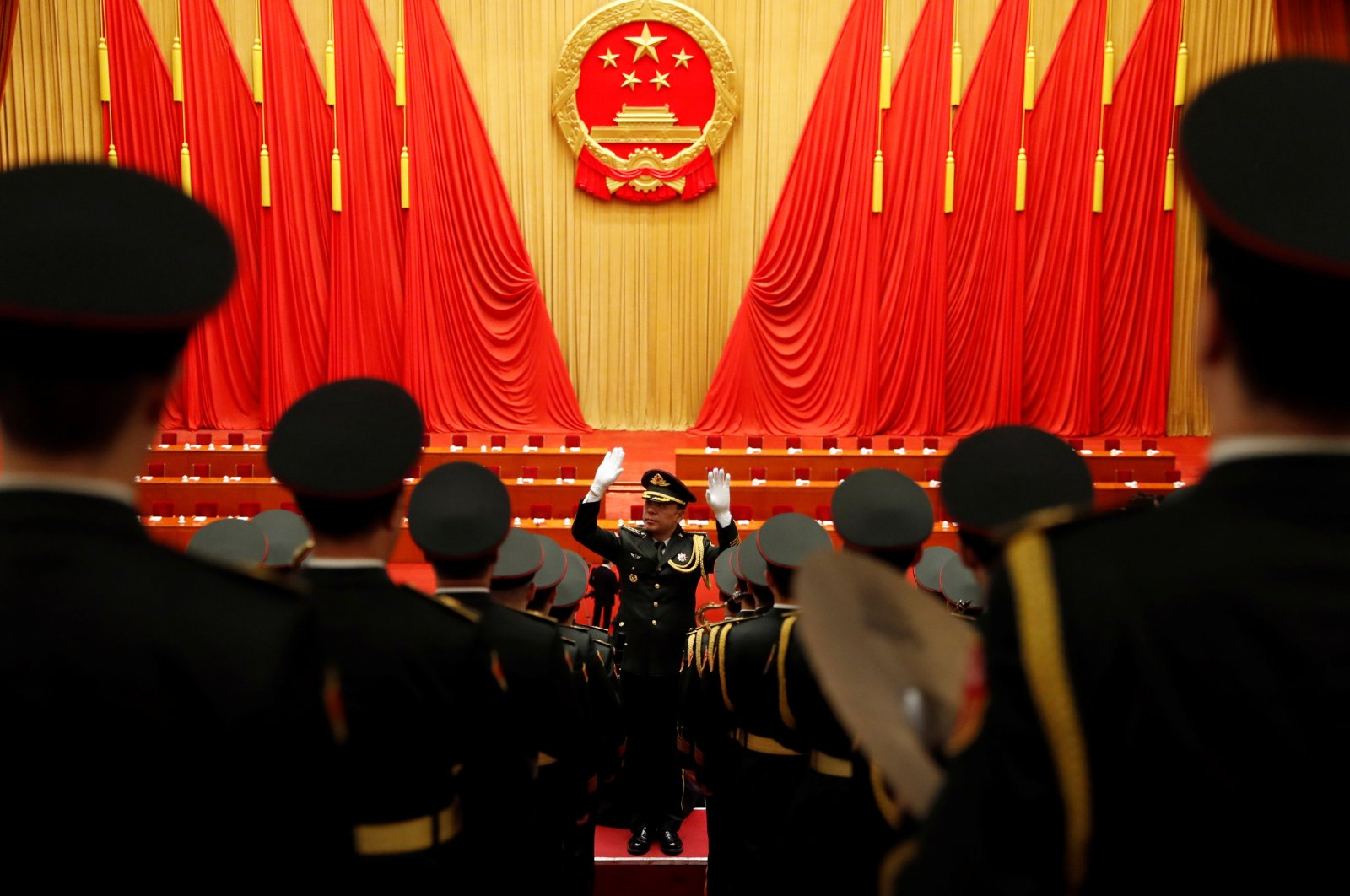 Military band members rehearse before the meeting to commend role models in China's fight against the coronavirus outbreak, at the Great Hall of the People in Beijing, China, Sept. 8, 2020. (Reuters Photo)