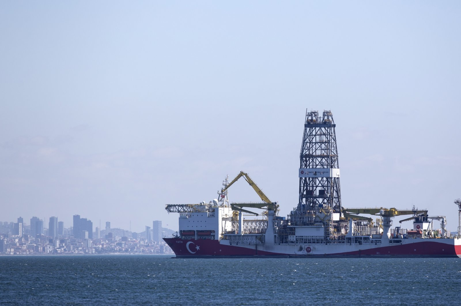 The Turkish drilling vessel Fatih waits on the shores of the Marmara Sea in Istanbul, Turkey, April 9, 2020. (EPA Photo)