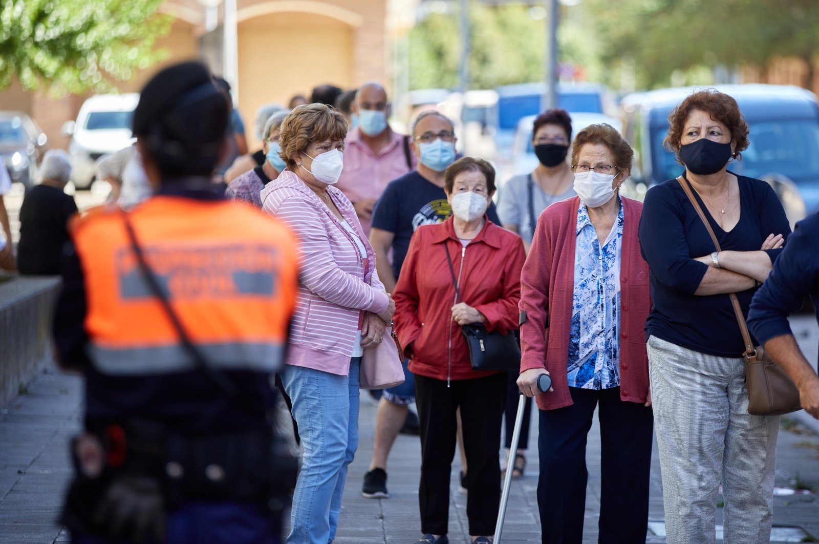 People wait to be tested for COVID-19 in Girona, Spain, Sept. 7, 2020. (EPA Photo)