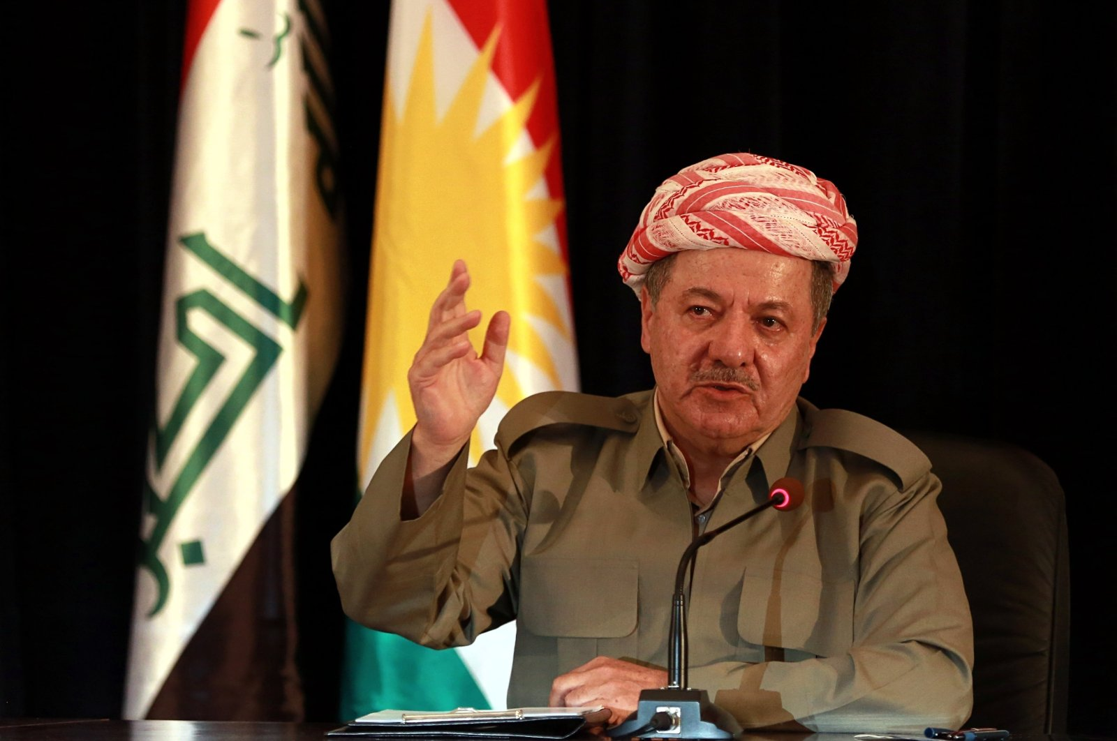 In this file photo, the then-president of Iraq's autonomous Kurdish region, Massoud Barzani, speaks to reporters during a news conference in Irbil, Iraq, Sept. 24, 2017. (AP File Photo)