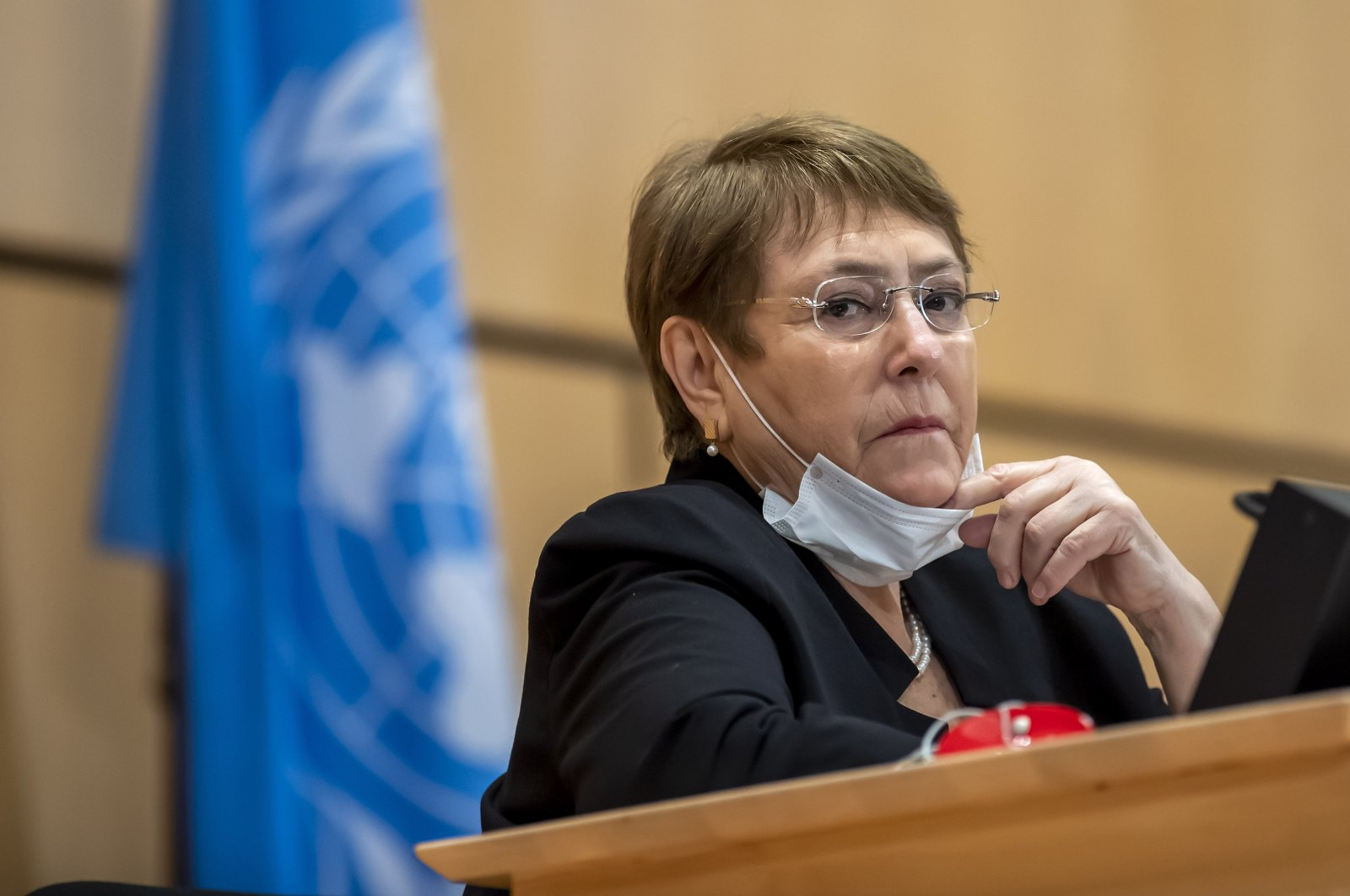 High Commissioner for Human Rights Michelle Bachelet attends a meeting of the Human Rights Council of the United Nations in Geneva, Switzerland, June 17, 2020. (AP Photo)