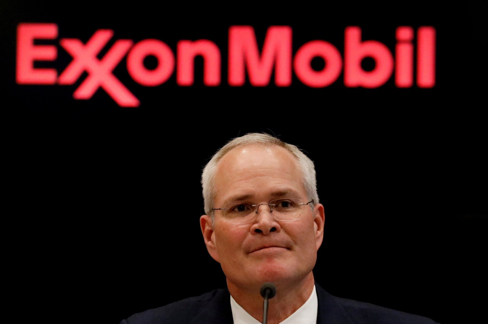Darren Woods, Chairman & CEO of Exxon Mobil Corporation attends a news conference at the New York Stock Exchange (NYSE) in New York, U.S., March 1, 2017. (Reuters Photo)